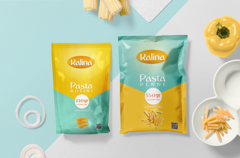 طراحی بسته بندی پاستا - کالینا - بسته بندی محصولات غذایی - بسته بندی ماکارونی